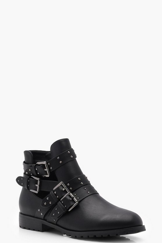 Studded Strap Cut Work Chelsea Ankle Boots