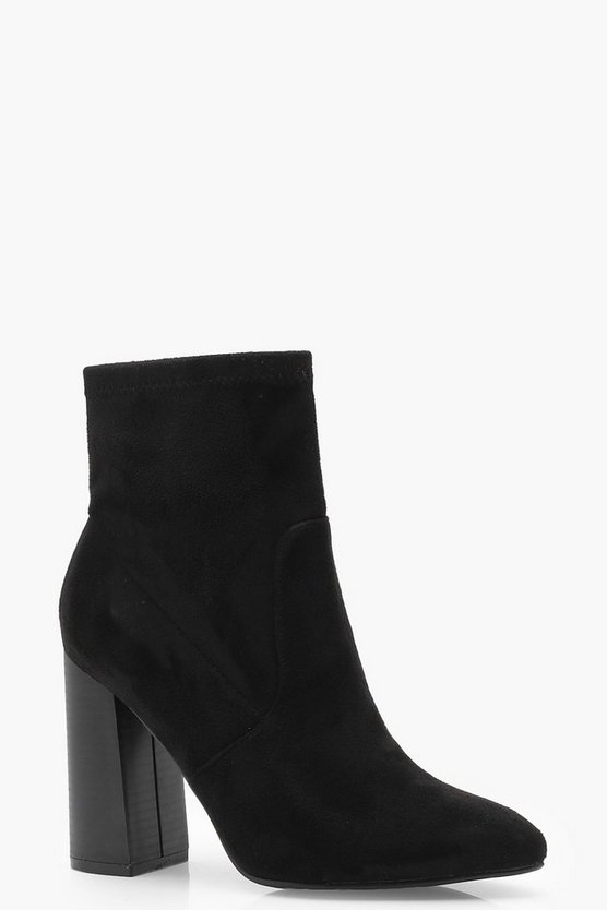 Womens Black Pointed Toe Suedette Sock Boots
