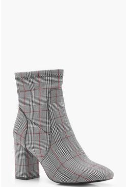 Checked Sock Boot, Red, Donna