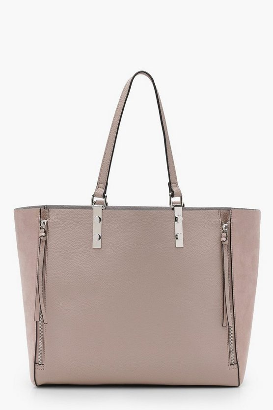 Womens Nude Zips Mixed Texture Tote