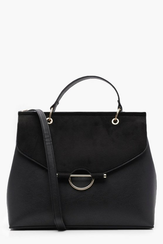 Ring Detail Structured Cross Body Bag