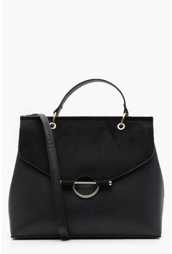 Womens Black Ring Detail Structured Cross Body Bag