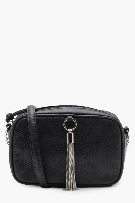 Amelia Faux Snake & Chain Tassel Cross Body Bag