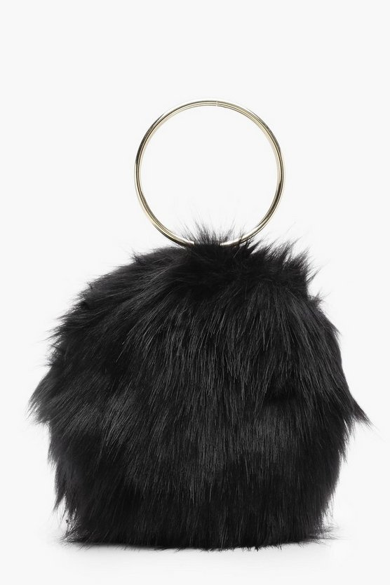 Womens Black Isobel Double Ring Faux Fur Clutch