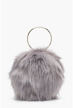 Womens Grey Isobel Double Ring Faux Fur Clutch