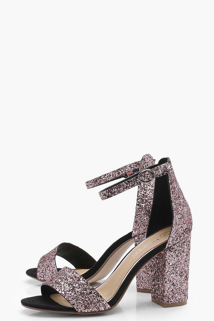 Glitter Block Heels | boohoo Australia
