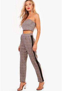 Womens Grey Skinny Crop Trouser and Bandeau Set