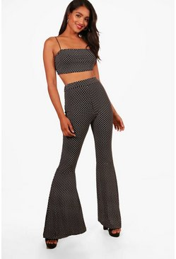 Womens Black Molly Polka Dot Flares and Strappy Bralet Set
