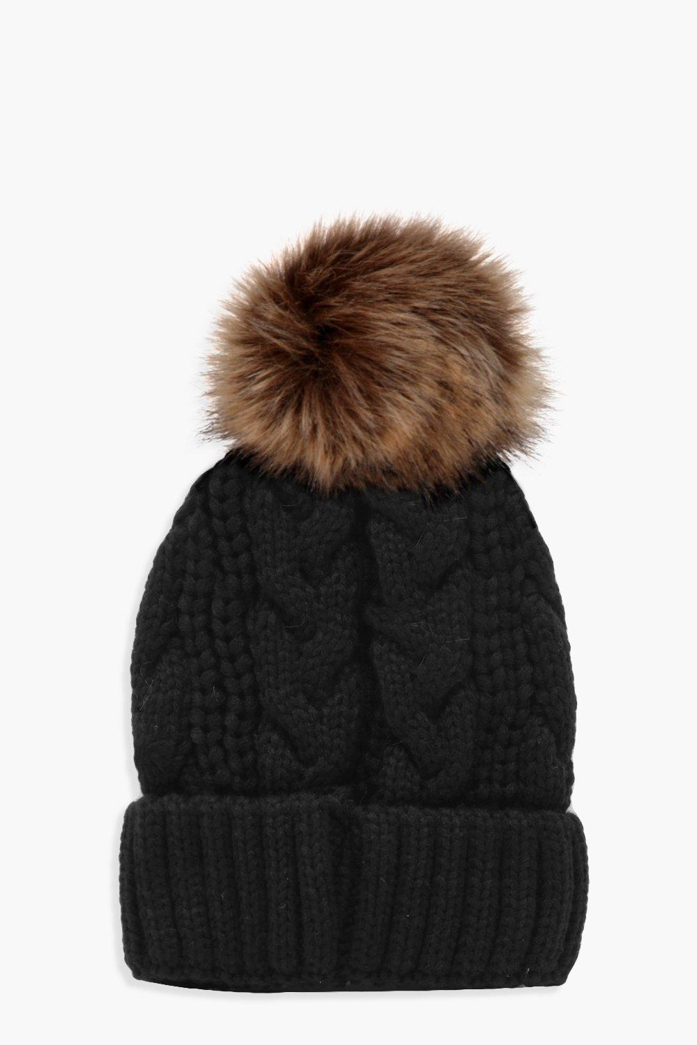 Cable Knit Faux Fur Pom Beanie. Hover to zoom 4807e57fb0f