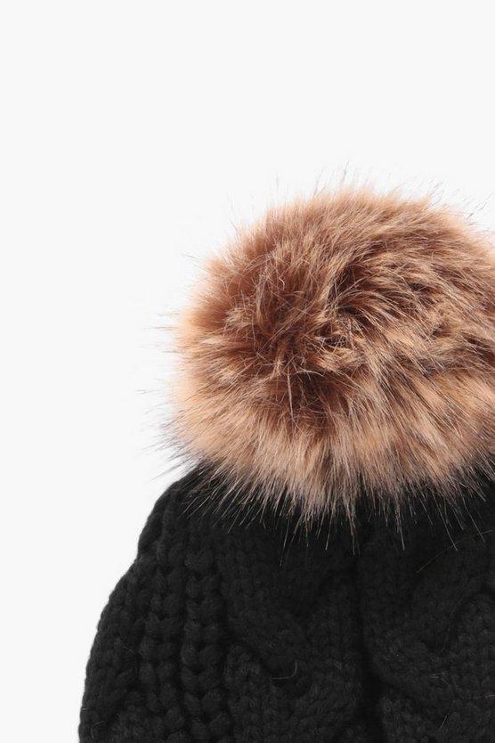 Cable Knit Faux Fur Pom Beanie