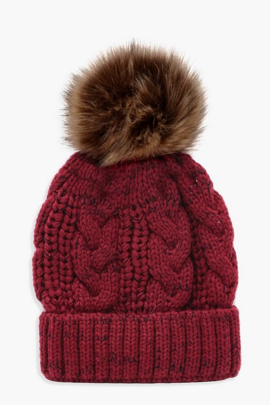 Red Cable Knit Faux Fur Pom Beanie