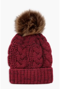 Womens Red Cable Knit Faux Fur Pom Beanie