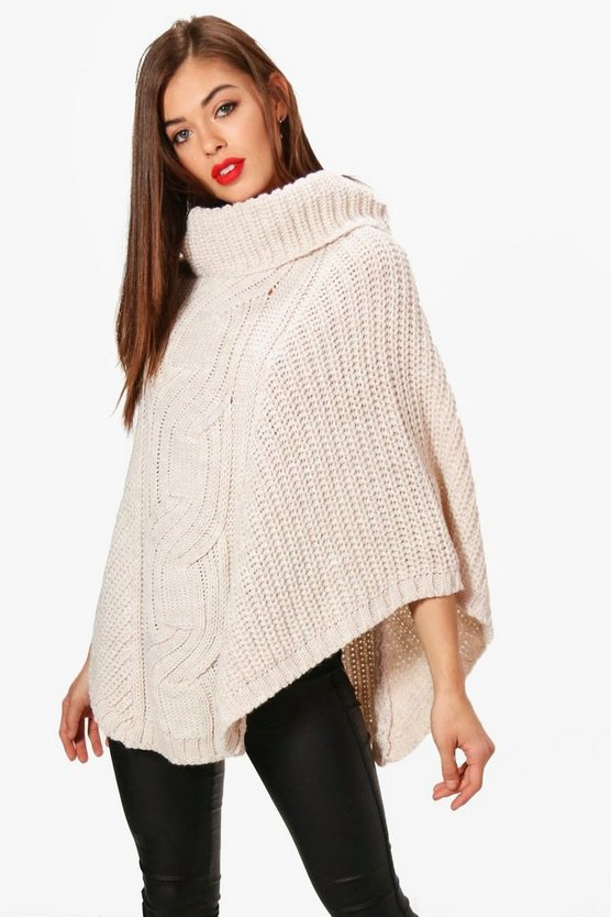 Molly Oversized Cable Knit Poncho