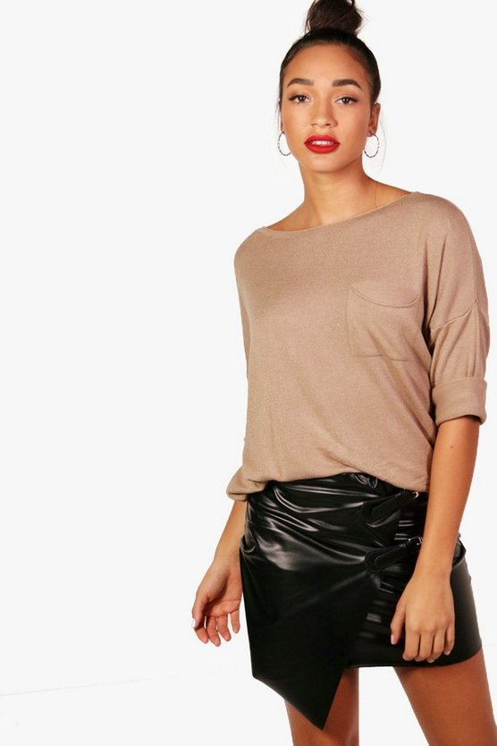 Oversized Pocket Front Knitted Top