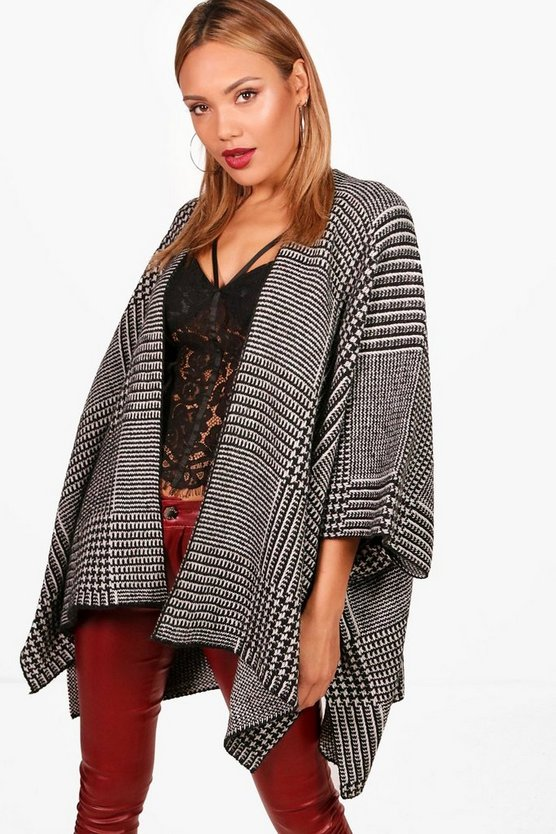 Kayleigh Dogtooth Checked Poncho