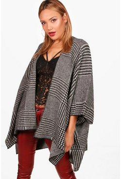 Kayleigh Dogtooth Checked Poncho, Black, MUJER