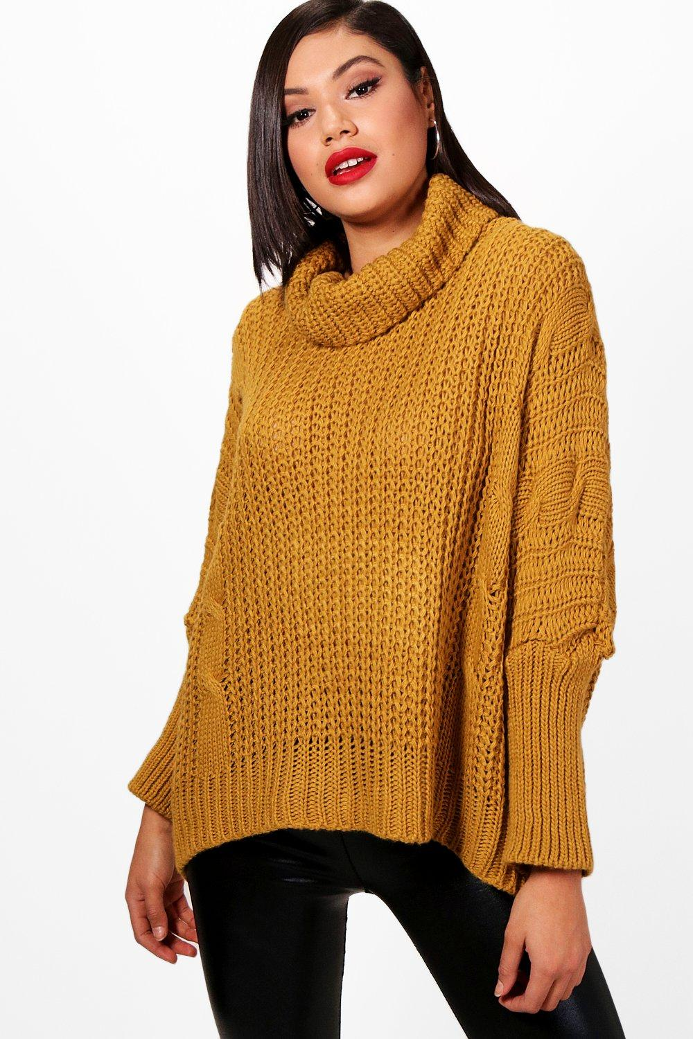 4a3591c5079 Chunky Roll Neck Cable Knit Jumper | Boohoo