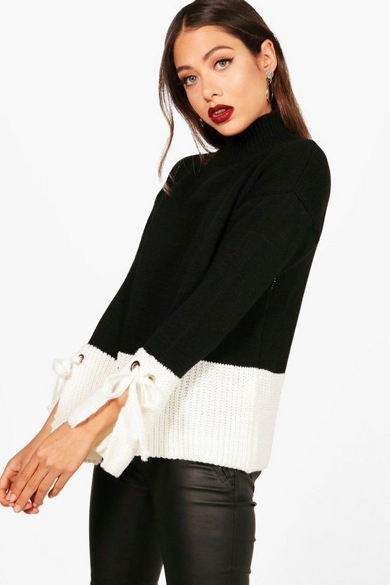 Womens Black Colour Block Flute Sleeve Jumper