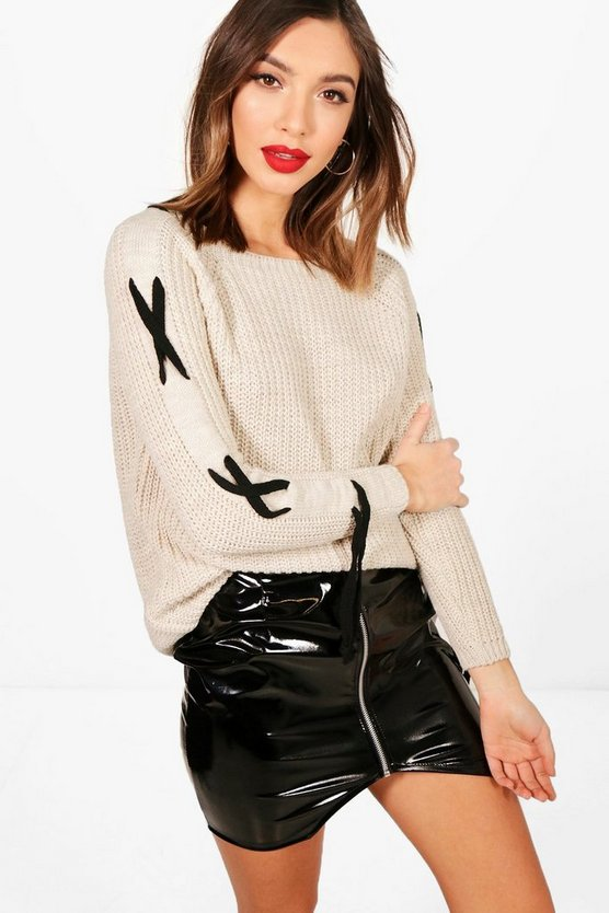 Amelia Lace Up Sleeve Knitted Jumper