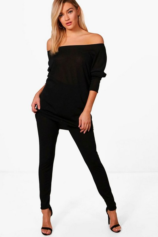 Daniella Knitted Off The Shoulder Loungewear Set