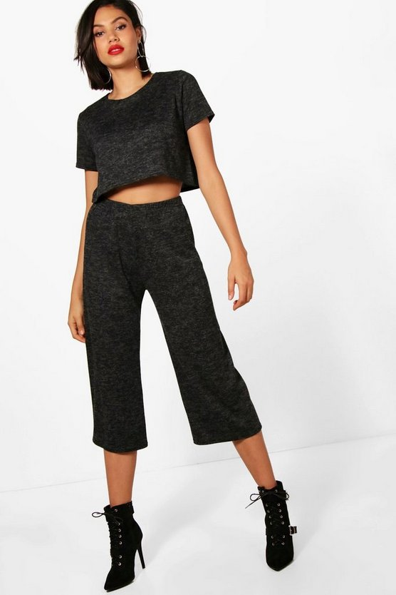 Olivia Marl Knitted Culotte Lounge Set