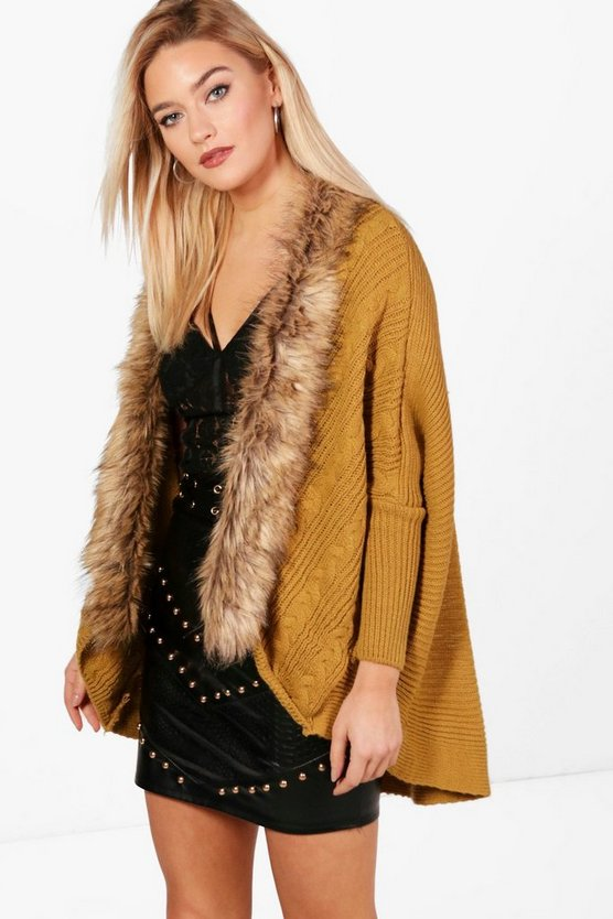 Katie Faux Fur Trim Cable Cocoon Cardigan