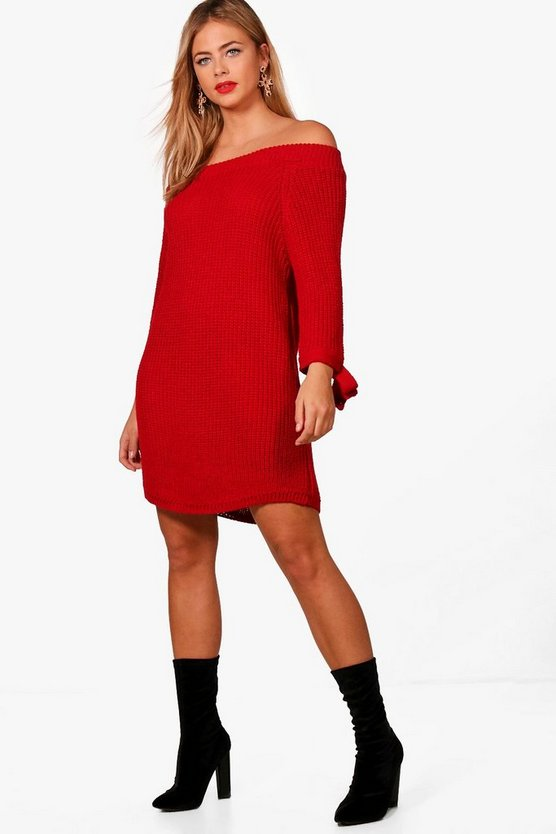 Freya Chunky Knit Off The Shoulder Tie Sleeve Dress