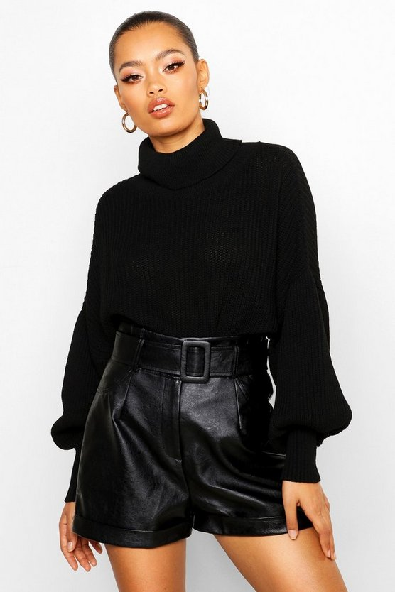 Womens Black Roll Neck Balloon Sleeve Knitted Jumper