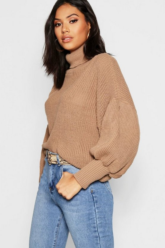 Womens Camel Roll Neck Balloon Sleeve Knitted Sweater