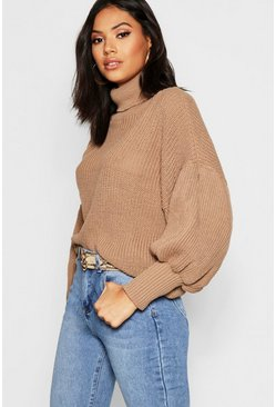 Camel Roll Neck Balloon Sleeve Knitted Sweater