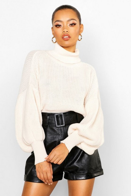 Roll Neck Balloon Sleeve Knitted Jumper, Cream, Donna