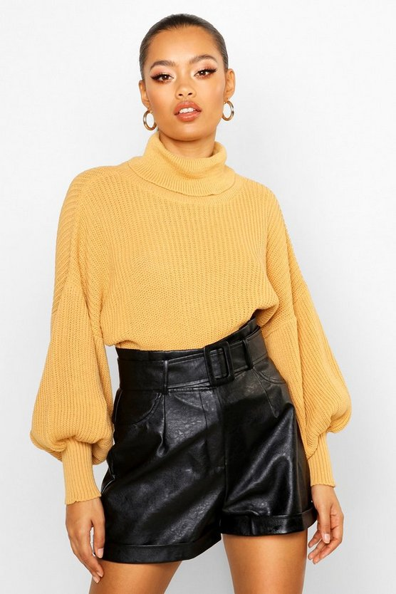 Lucy Roll Neck Balloon Sleeve Knitted Jumper