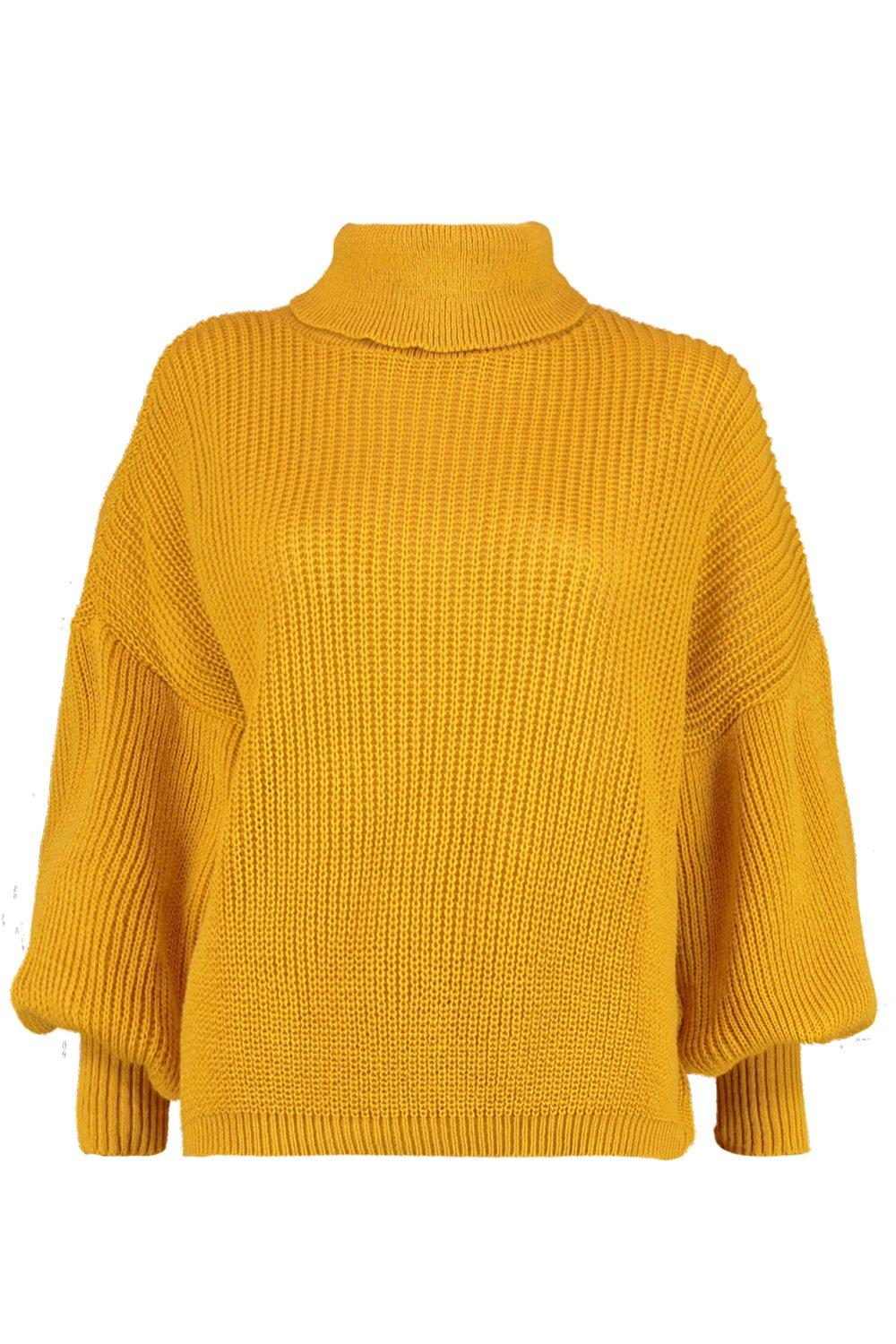 Neck Roll Balloon Knitted mustard Sleeve Jumper gnvdTwqO
