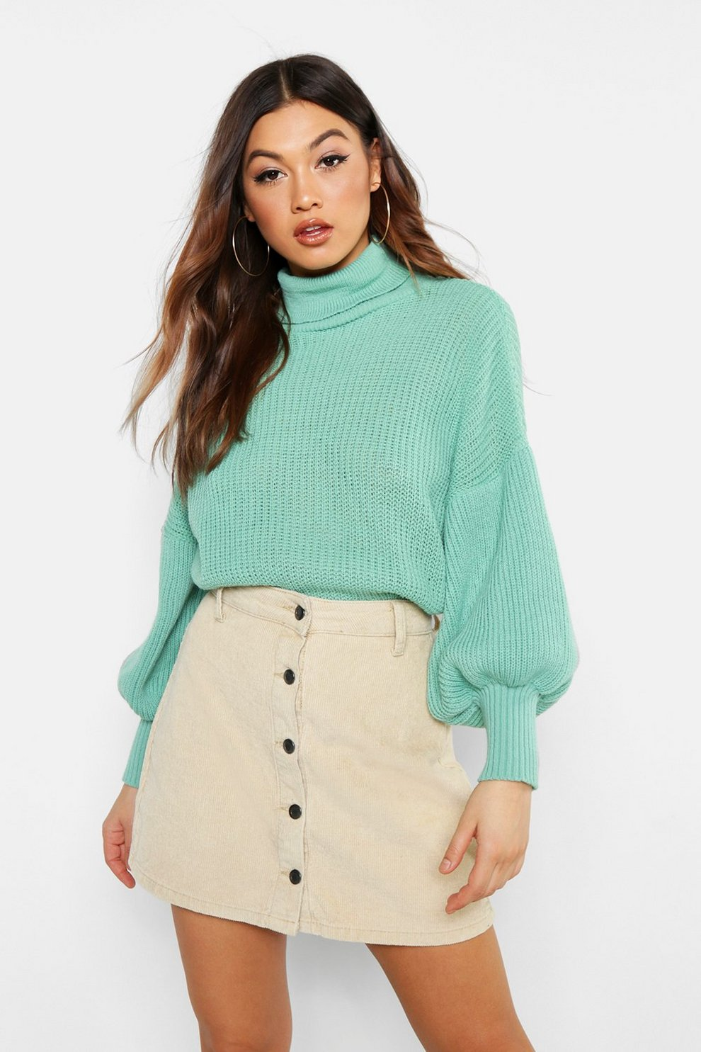 aa3282571fab39 Womens Sage Roll Neck Balloon Sleeve Knitted Jumper