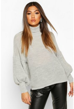 Womens Silver Roll Neck Balloon Sleeve Knitted Jumper