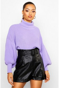 Violet Roll Neck Balloon Sleeve Knitted Sweater