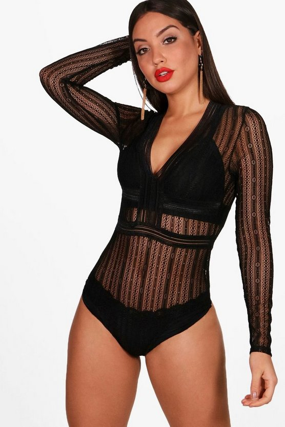 Long Sleeve Lace Plunge Bodysuit