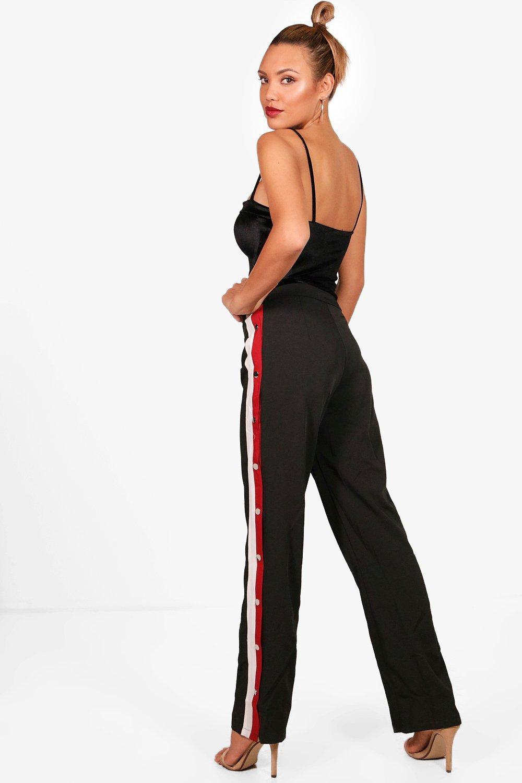 Popper Track Side Popper Popper Pants Track black black Pants Side d5nfFWd