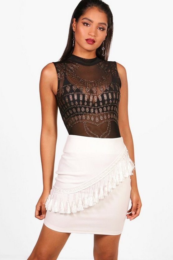Tassle Trim Mini Skirt