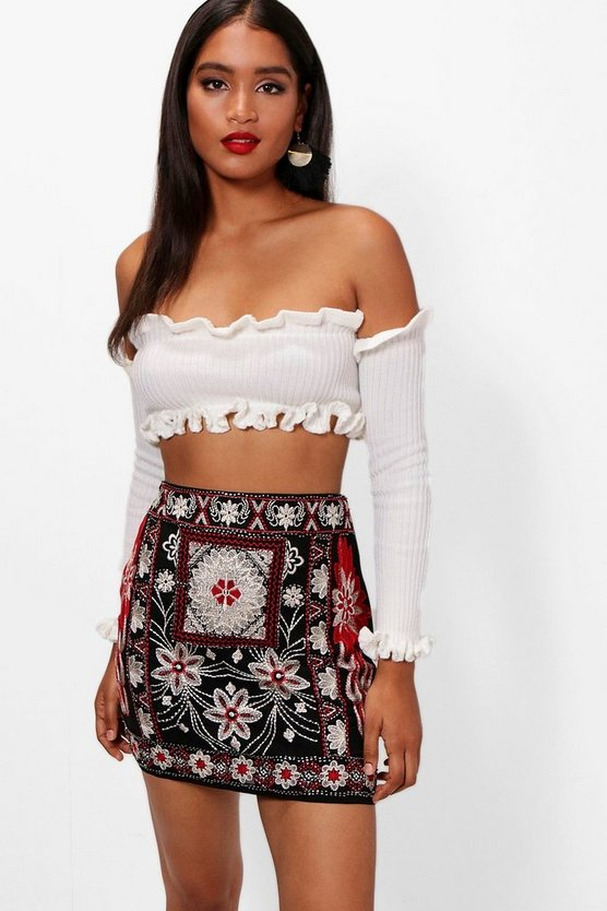 Embroidered Beaded Chiffon Mini Skirt