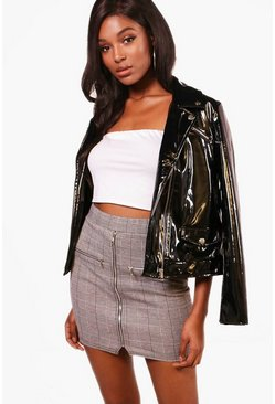 Womens Grey Mono Check Zip Detail Mini Skirt