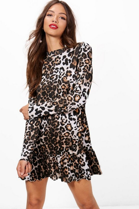 Womens Black Gwen Drop Hem Leopard Print Shift Dress