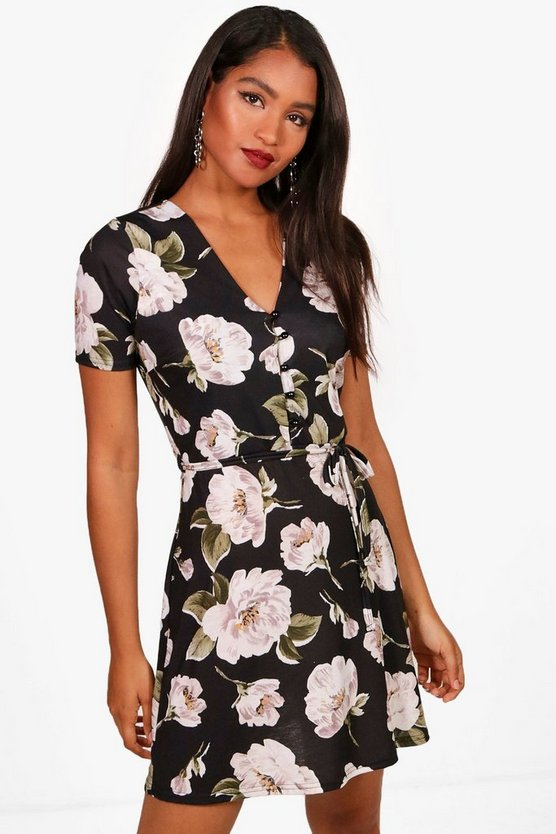 Joanna V Neck Belted Floral Tea Dress