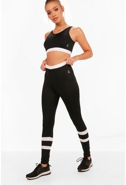 Womens Black Fit High Waisted Legging & Sports Bra Set