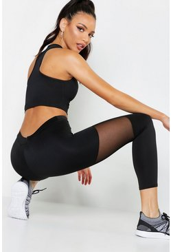 Black Fit Basic Mesh Panel High Waisted Legging