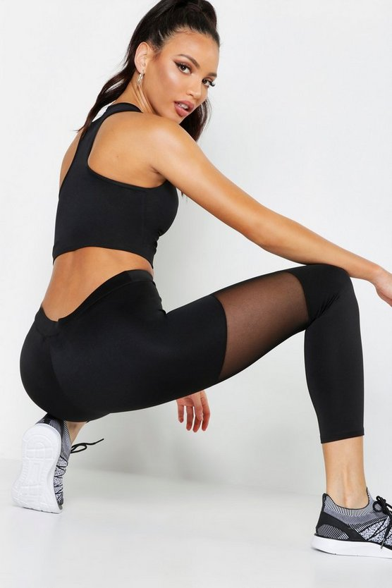 Fit Basic Mesh Panel High Waisted Legging