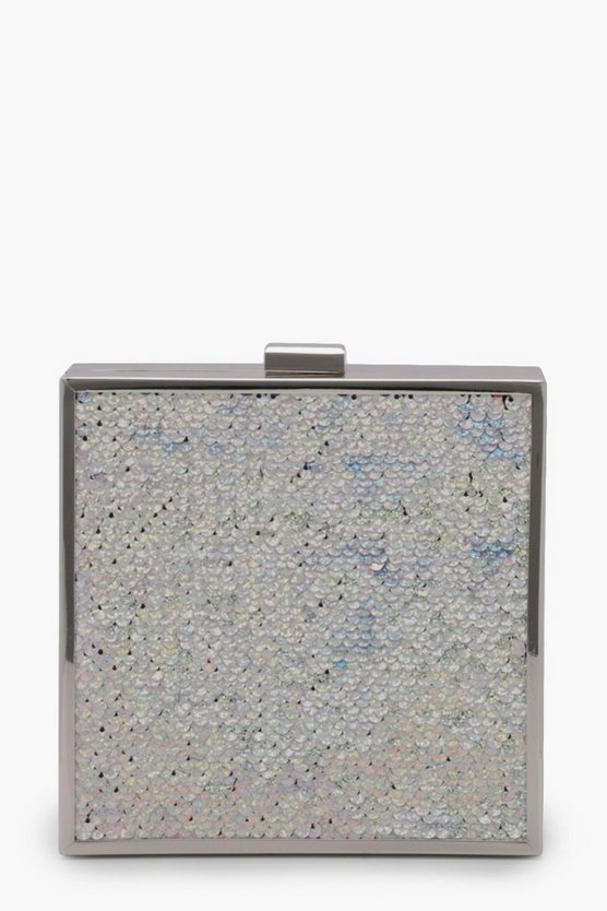 Megan Holographic reversible Sequin Box Clutch