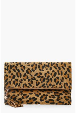 Bolso Clutch de piel de poni leopardo plegable, Natural