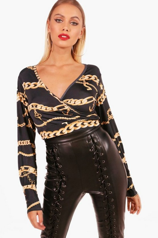 Emma Chain Print Balloon Sleeve Crop