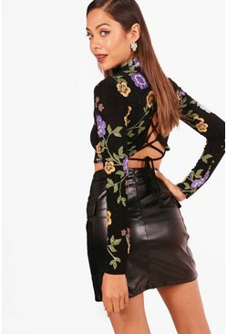 Womens Black Oriental Long Sleeve Lace Up Back Crop